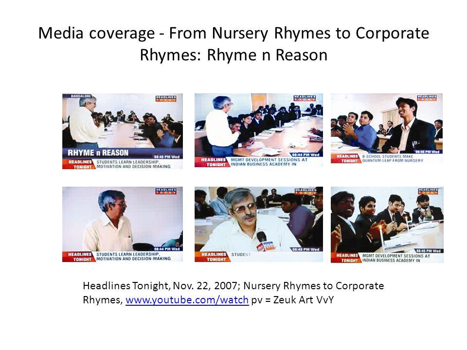 Media coverage - From Nursery Rhymes to Corporate Rhymes: Rhyme n Reason