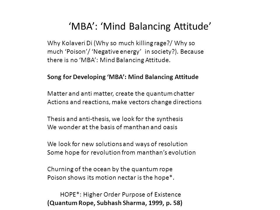 'MBA': 'Mind Balancing Attitude'