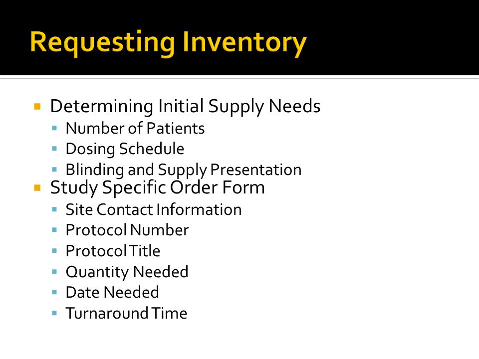 Requesting Inventory Determining Initial Supply Needs