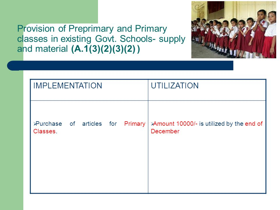 Provision of Preprimary and Primary classes in existing Govt