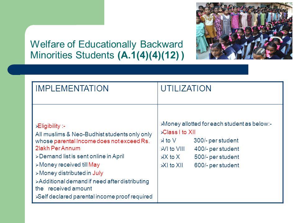 Welfare of Educationally Backward Minorities Students (A.1(4)(4)(12) )