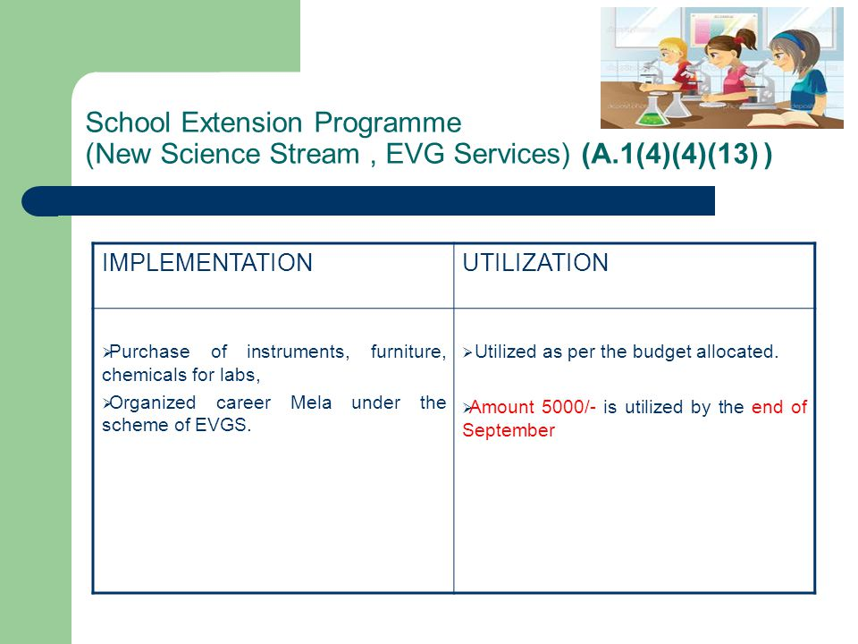 School Extension Programme (New Science Stream , EVG Services) (A