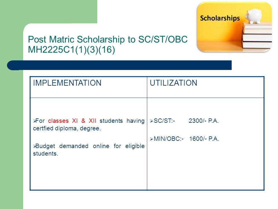 Post Matric Scholarship to SC/ST/OBC MH2225C1(1)(3)(16)