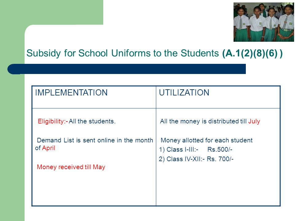 Subsidy for School Uniforms to the Students (A.1(2)(8)(6) )