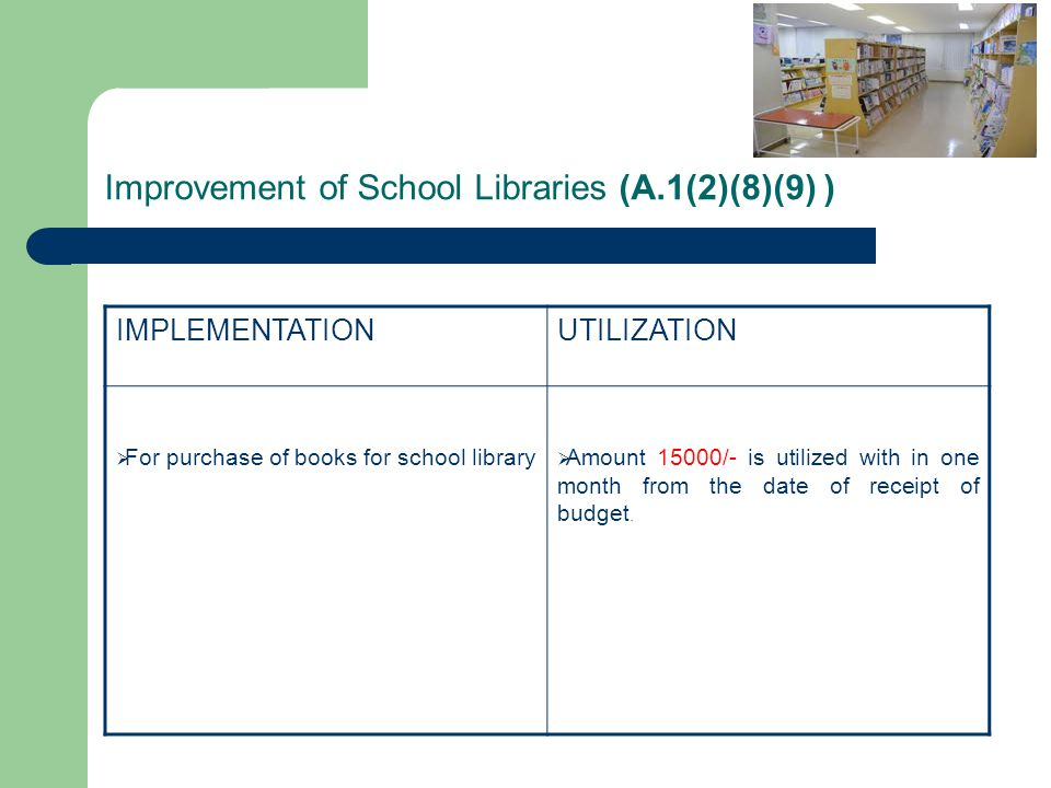 Improvement of School Libraries (A.1(2)(8)(9) )
