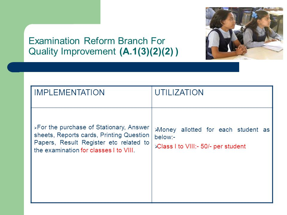Examination Reform Branch For Quality Improvement (A.1(3)(2)(2) )