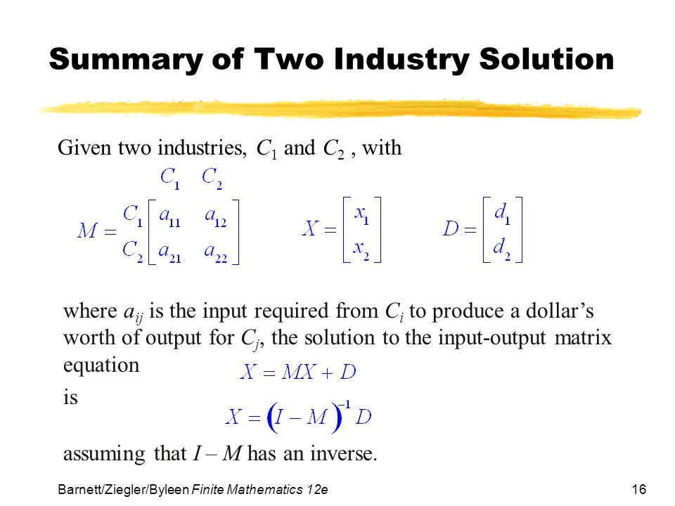 Summary of Two Industry Solution