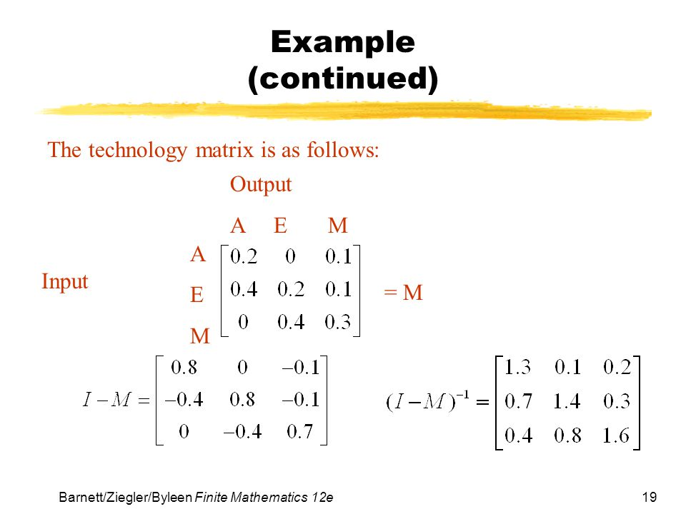 Example (continued) The technology matrix is as follows: Output A E M