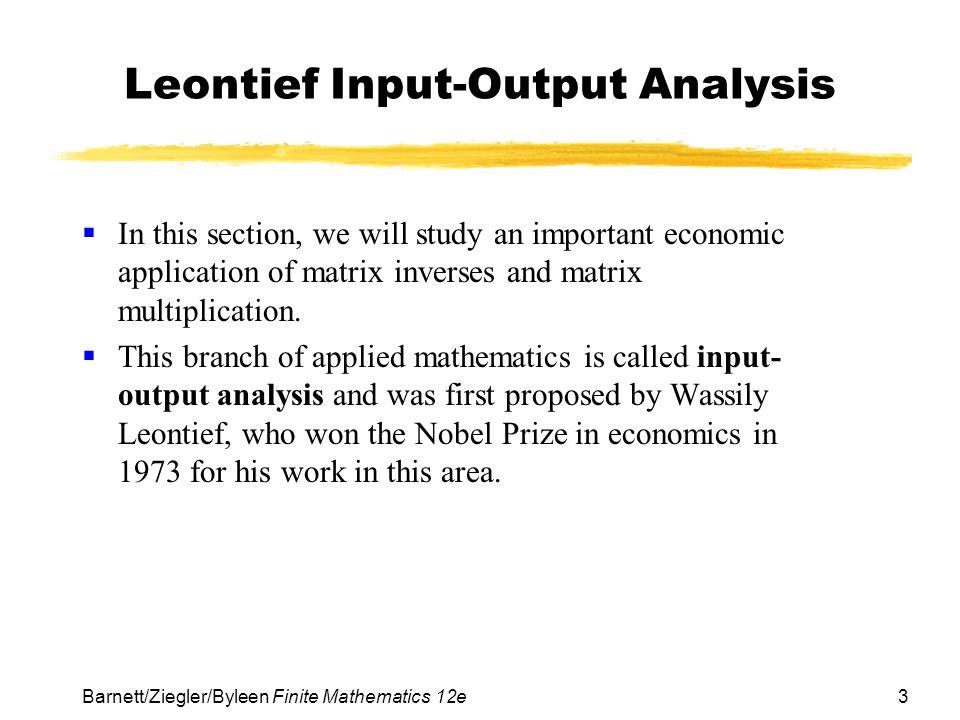 Leontief Input-Output Analysis