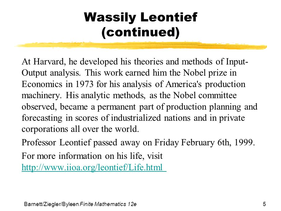 Wassily Leontief (continued)