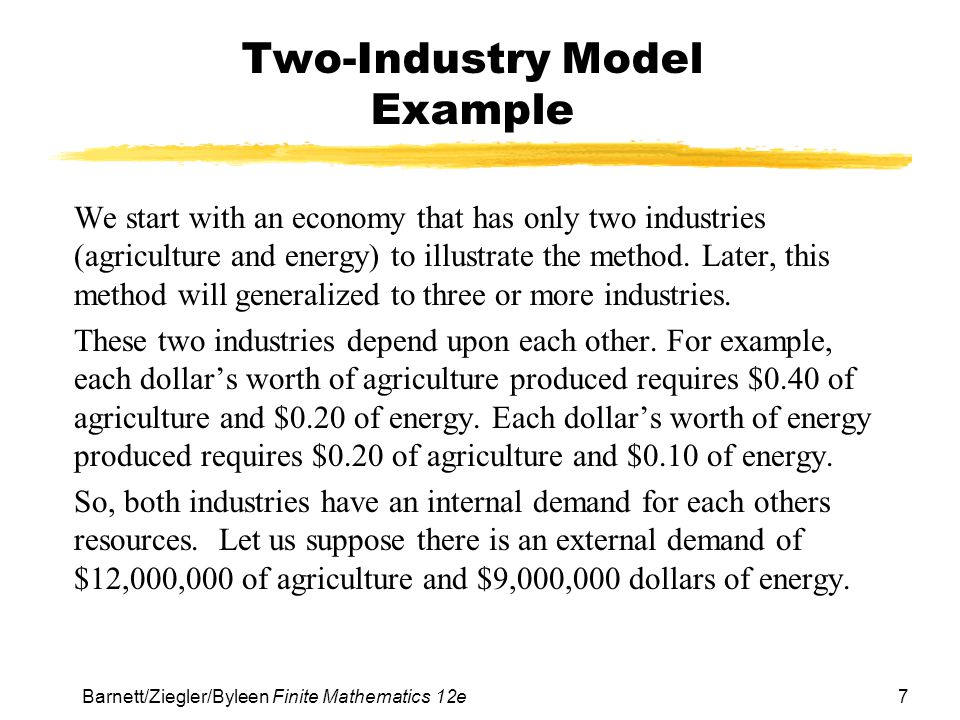 Two-Industry Model Example