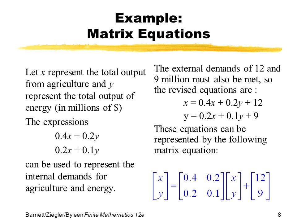 Example: Matrix Equations