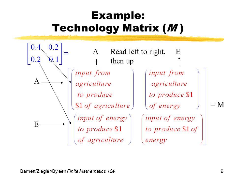 Example: Technology Matrix (M )
