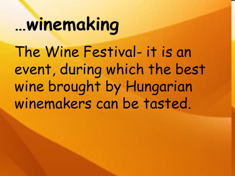 …winemaking The Wine Festival- it is an event, during which the best wine brought by Hungarian winemakers can be tasted.