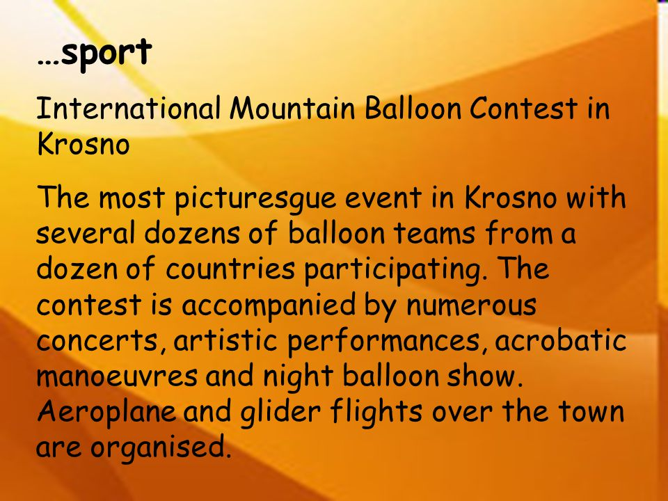…sport International Mountain Balloon Contest in Krosno