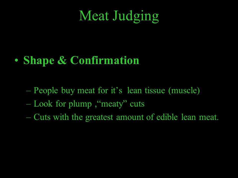 Meat Judging Shape & Confirmation