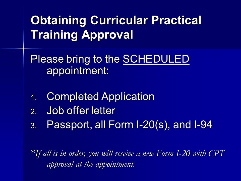 Obtaining Curricular Practical Training Approval