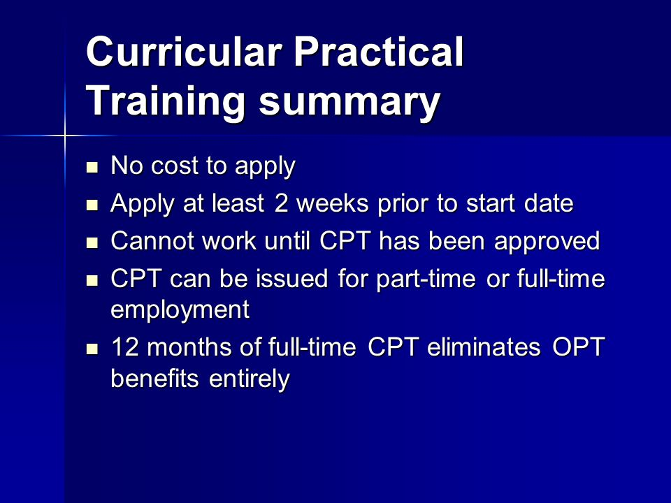 Curricular Practical Training summary