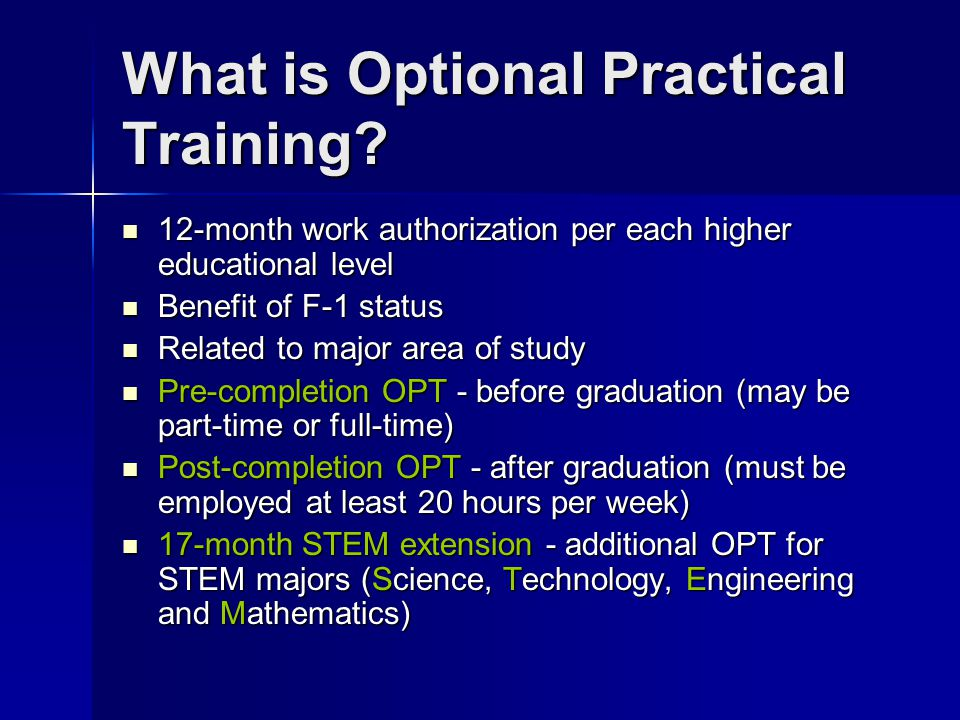 What is Optional Practical Training