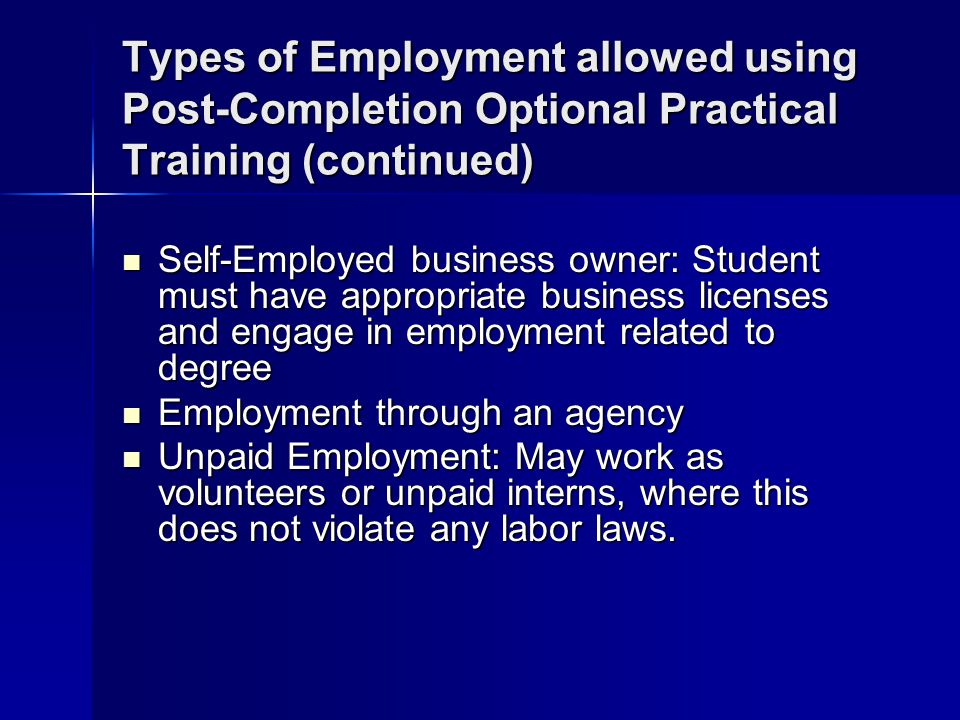 Types of Employment allowed using Post-Completion Optional Practical Training (continued)