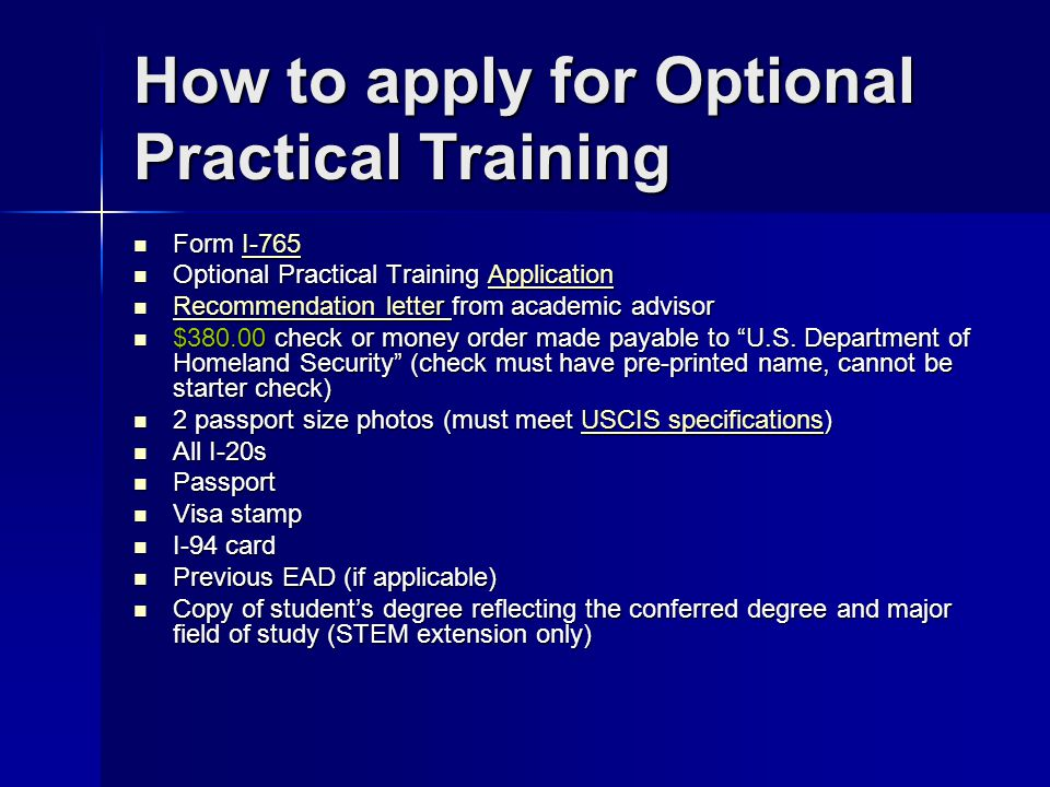 How to apply for Optional Practical Training