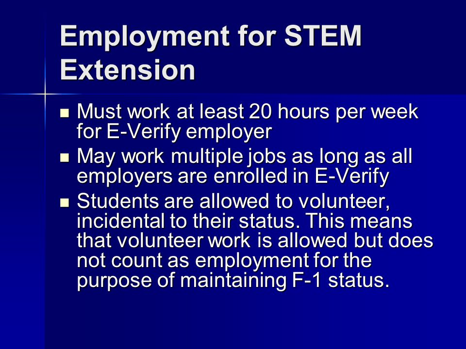 Employment for STEM Extension