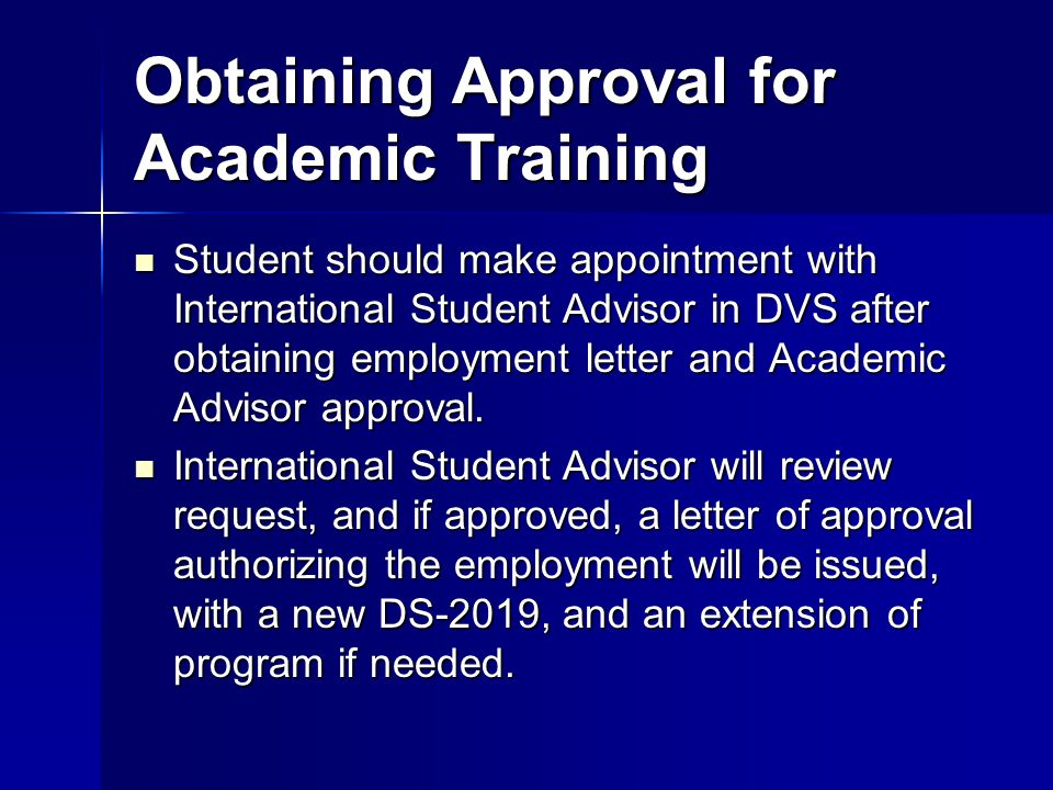 Obtaining Approval for Academic Training
