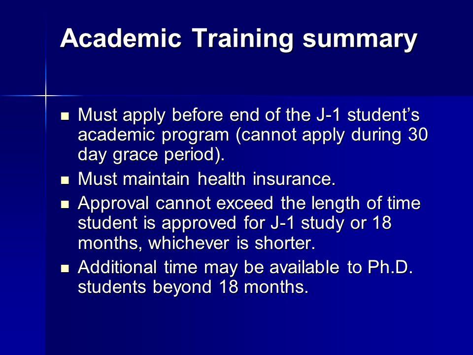 Academic Training summary
