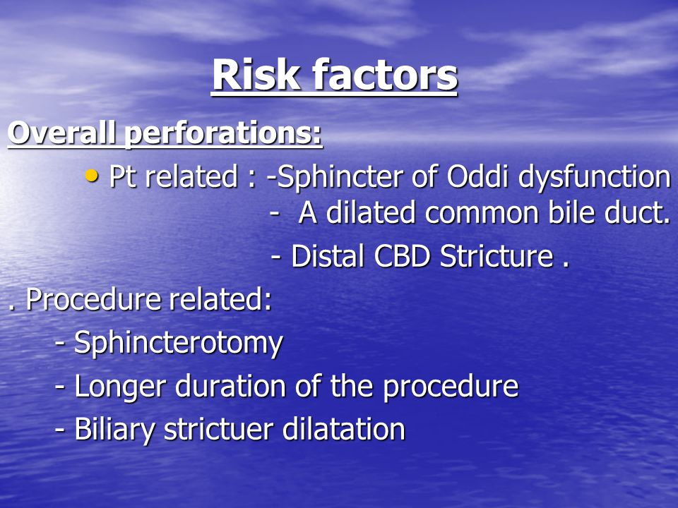 Risk factors Overall perforations: