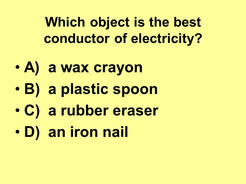 Which object is the best conductor of electricity