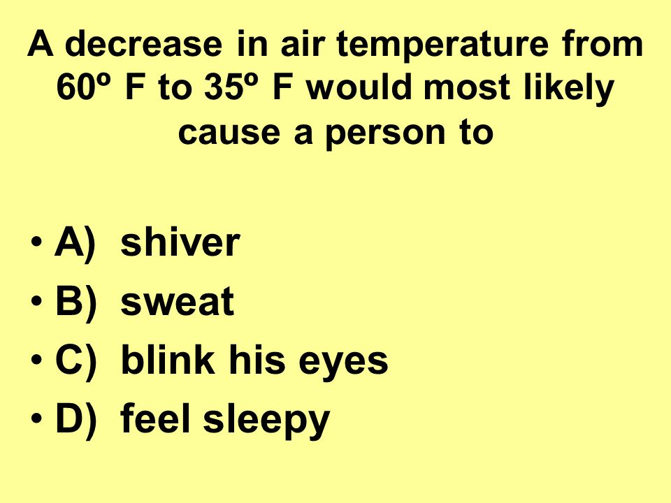 A) shiver B) sweat C) blink his eyes D) feel sleepy