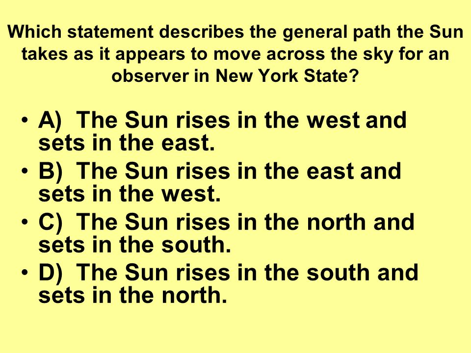 A) The Sun rises in the west and sets in the east.