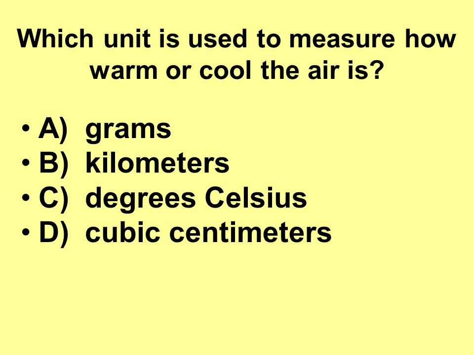 Which unit is used to measure how warm or cool the air is