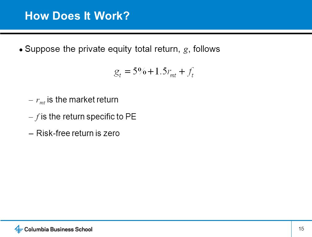 How Does It Work Suppose the private equity total return, g, follows