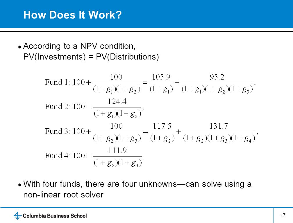 How Does It Work According to a NPV condition, PV(Investments) = PV(Distributions)