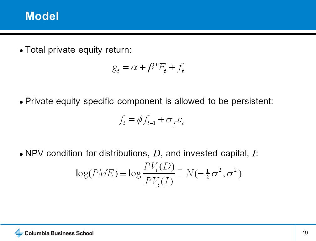 Model Total private equity return: