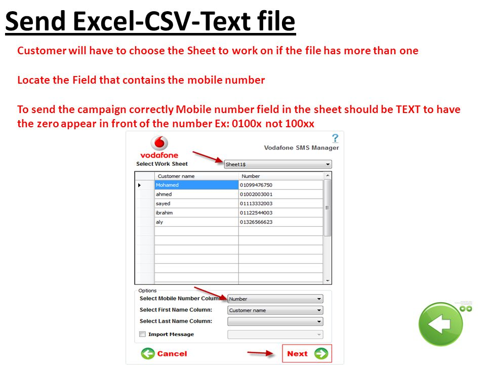 Send Excel-CSV-Text file