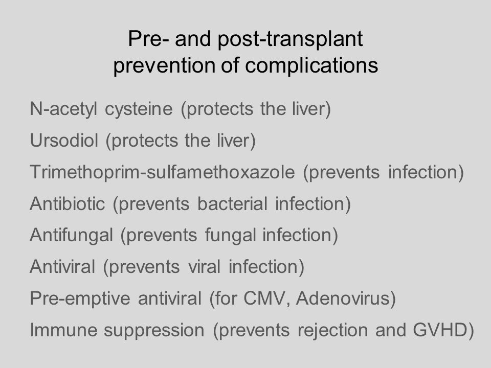Pre- and post-transplant prevention of complications