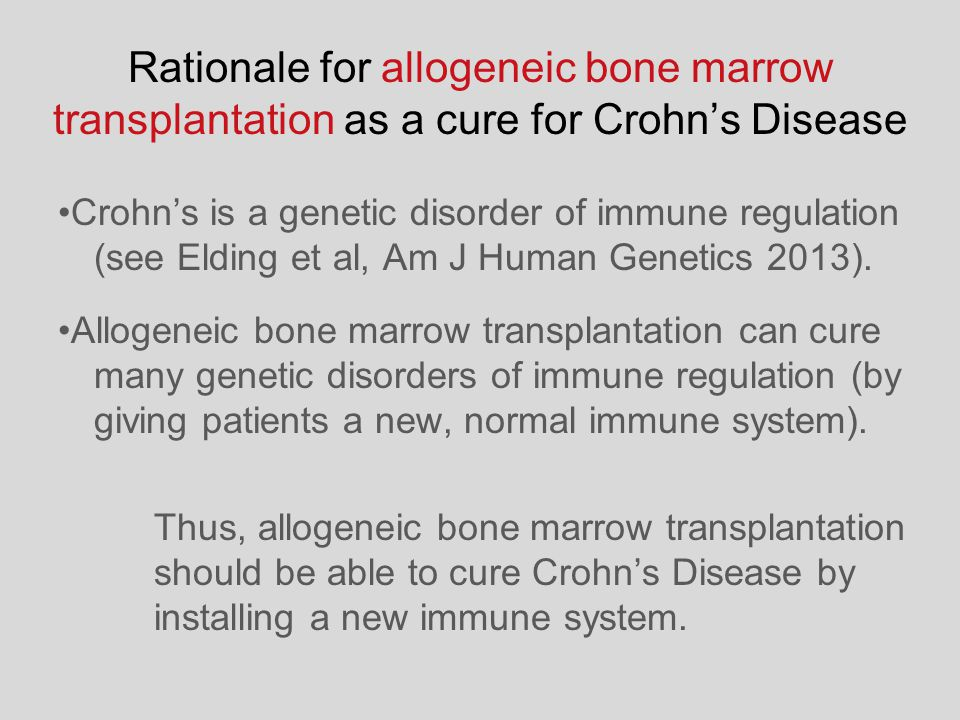 Rationale for allogeneic bone marrow transplantation as a cure for Crohn's Disease