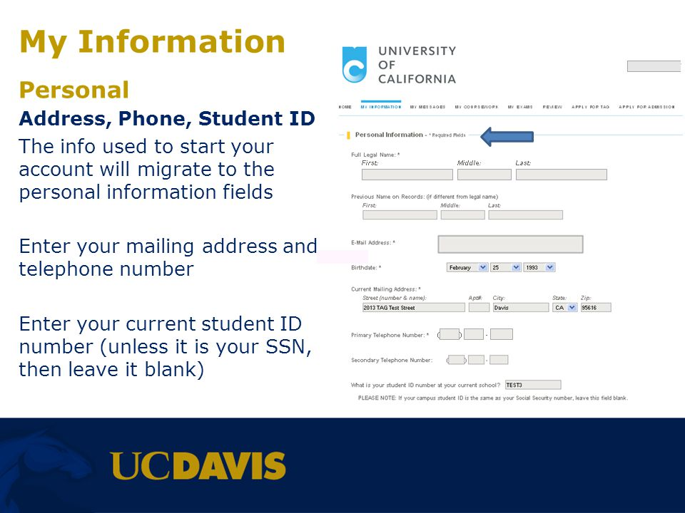 My Information Personal Address, Phone, Student ID