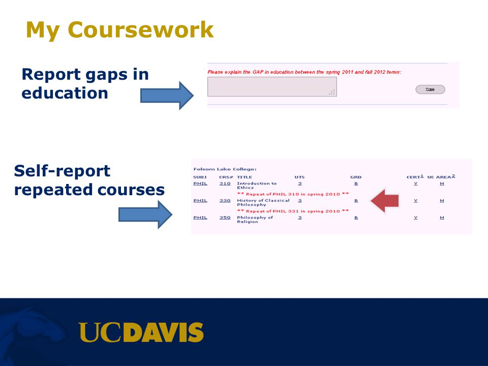 My Coursework Report gaps in education Self-report repeated courses