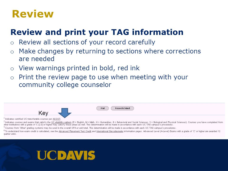 Review Review and print your TAG information