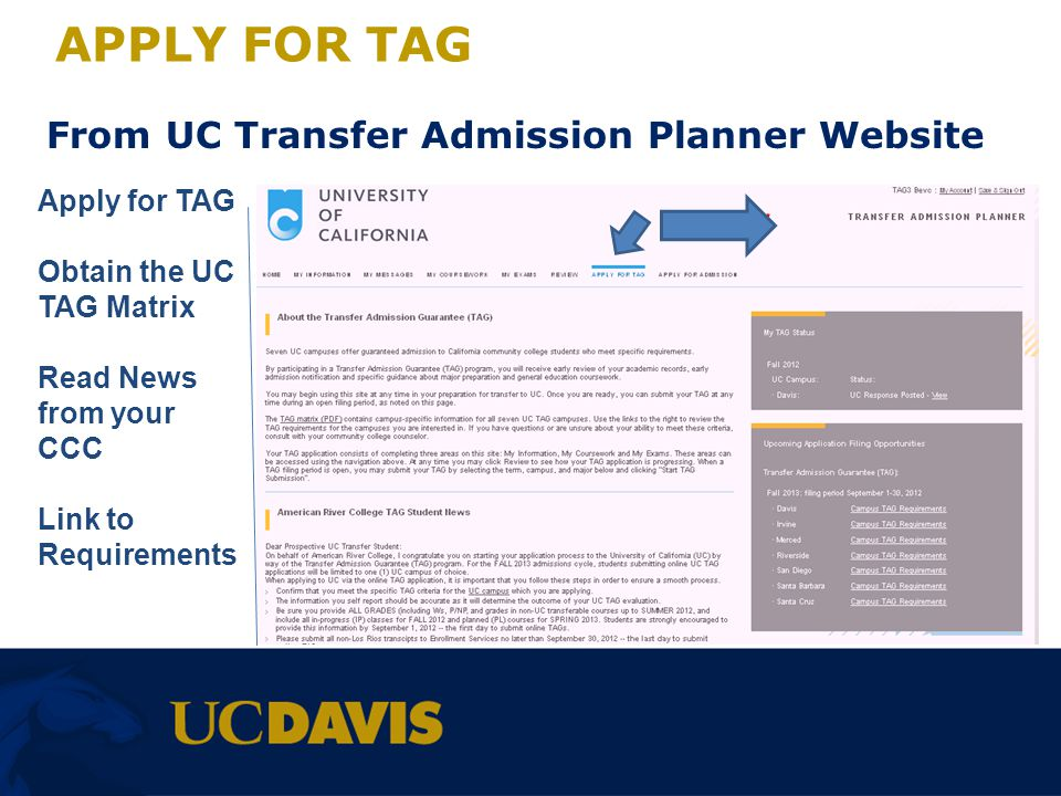 APPLY FOR TAG From UC Transfer Admission Planner Website Apply for TAG