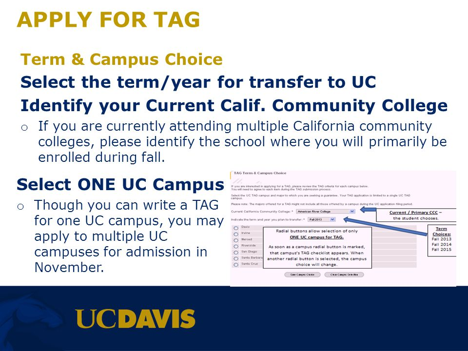 APPLY FOR TAG Select the term/year for transfer to UC