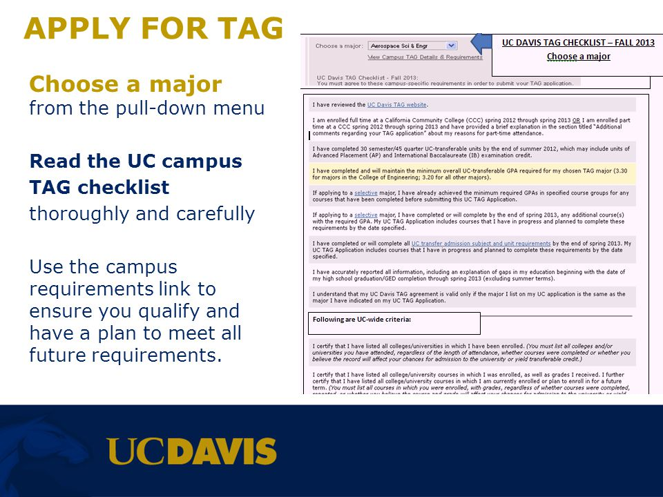 APPLY FOR TAG Choose a major from the pull-down menu