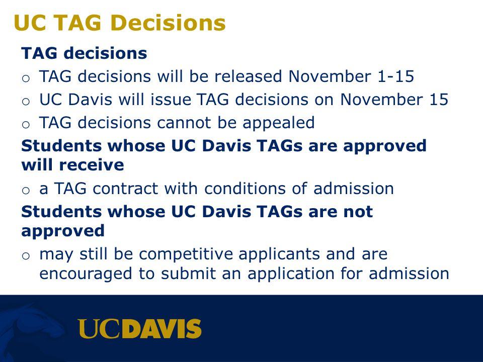 UC TAG Decisions TAG decisions