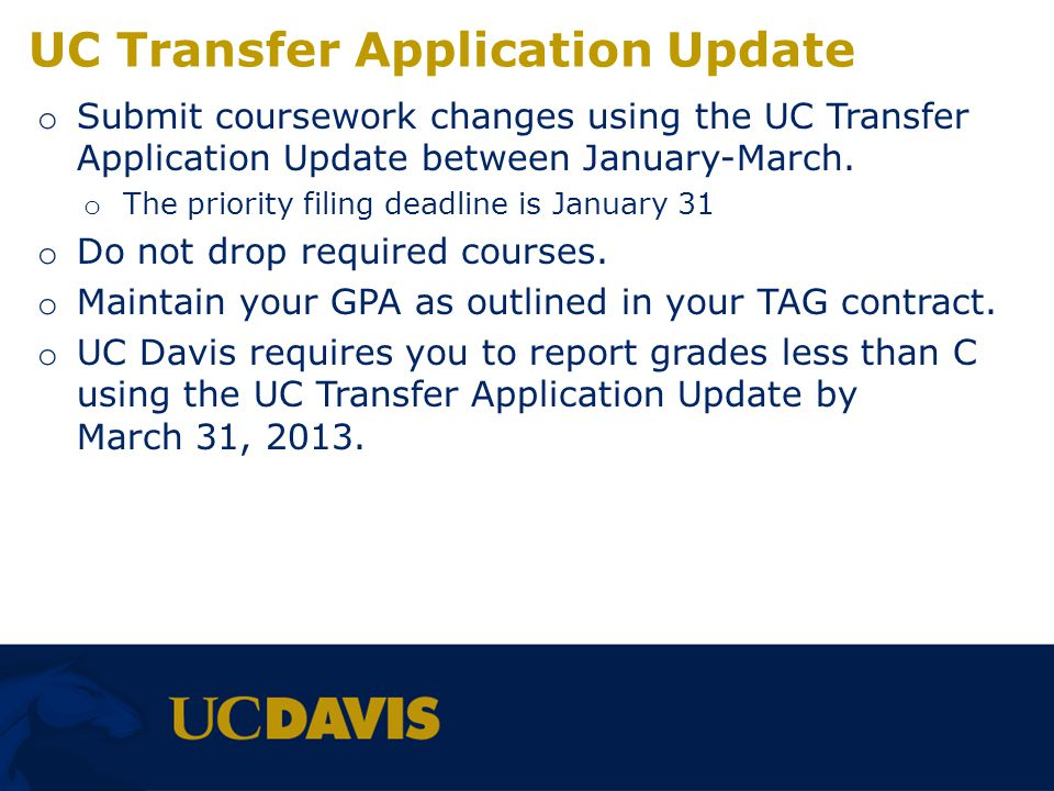 UC Transfer Application Update