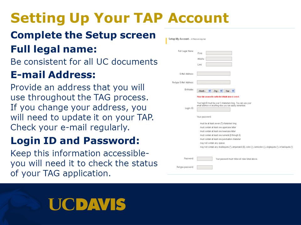 Setting Up Your TAP Account