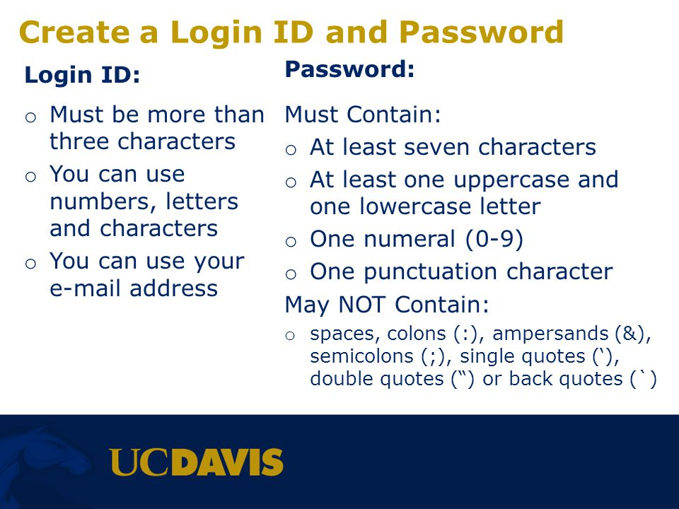Create a Login ID and Password