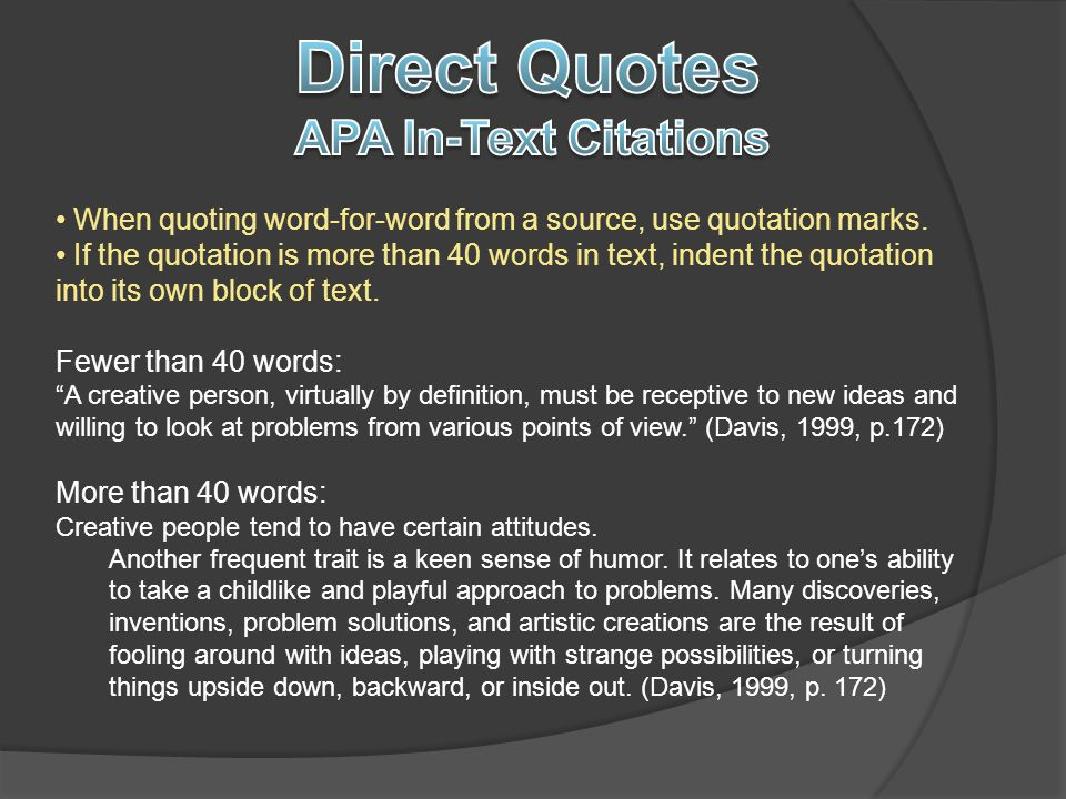 Direct Quotes APA In-Text Citations